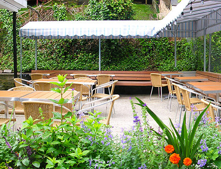 Renovated patio and plantings